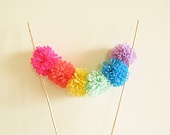 Funky Rainbow Colors Cake Topper Sweet Little Pom Pom Bunting Birthday or Wedding Decor by Cherrytime