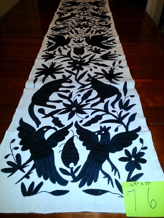 Tenango hand embroidered mexican otomi crafts fabric table Mexican embroidered bedding