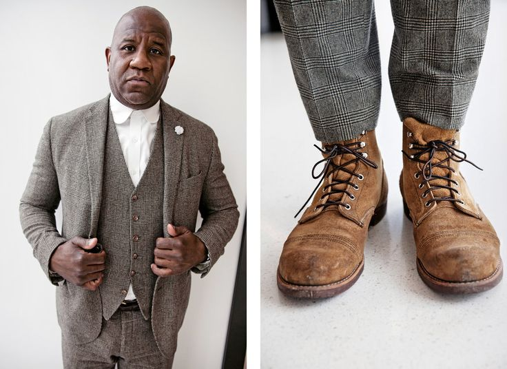 """The boots are American classic Red Wing Iron Rangers. I like a turn-of-the-century, kind of ""Peaky Blinders,"" ""Gangs of New York"" look — the days when the roads weren't paved and you wore a suit with boots."" — Wyatt Mitchell, 48, Creative director, The New Yorker"