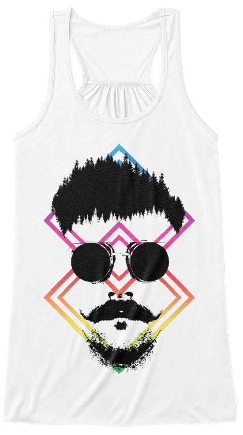 Hipster Man Style Beard Mustache White T-Shirt Front