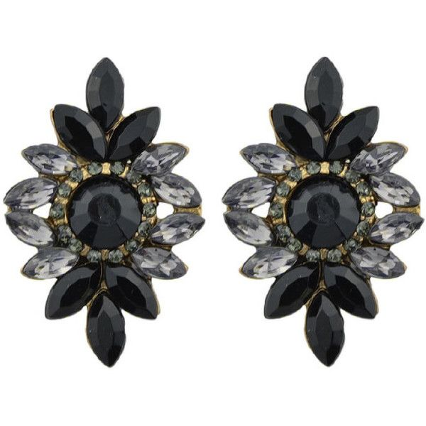 df0aa08b8775 Black Vintage Rhinestone Flower Earrings ❤ liked on Polyvore featuring  jewelry