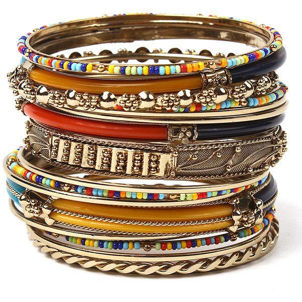 Amrita Singh Red & Blue Monaco Bangle Set (59 BRL) ❤ liked on Polyvore featuring jewelry, bracelets, blue bangle bracelet, blue jewelry, amrita singh jewelry, amrita singh and blue jewellery