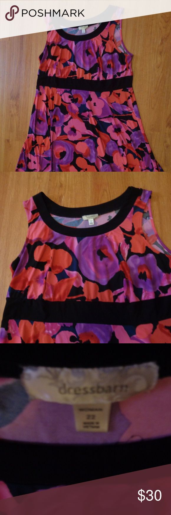 Vibrant Floral DRESSBARN WOMAN Sz 22 Dress Soft, stretchy, figure flattering dress from Dressbarn Woman with black accent band at waistline. SIze 22 but can stretch to fit a size 24 as well. Like new condition. Dressbarn Woman Dresses