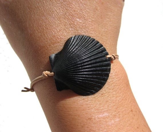 California Naturally Black Scallop Shell on India Leather Cord Completely Adjustable & Stackable Bracelet by LindseysBeachGlass, $25.00