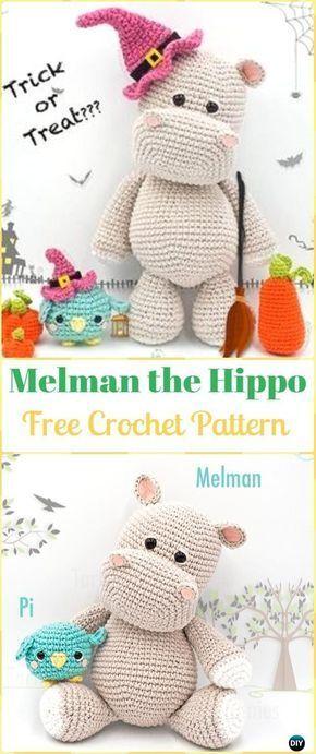 Crochet Amigurumi Hippo Melman Free Pattern - Amigurumi Crochet Hippo Toy Softies Free Patterns