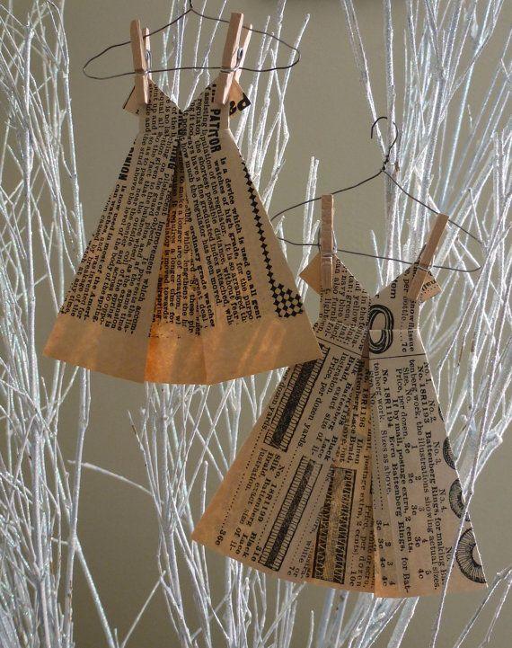 Origami Dresses Vintage Paper Dresses Ornament Set by StudioToto, $4.50