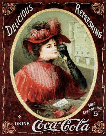 Coca-Cola– Viktorianisches Rot Blechschild