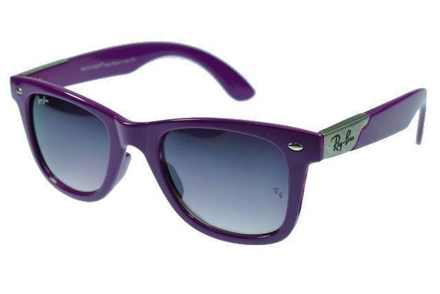 Ray Ban Wayfarer RB2140 Sunglasses Purple Frame Gray Lens