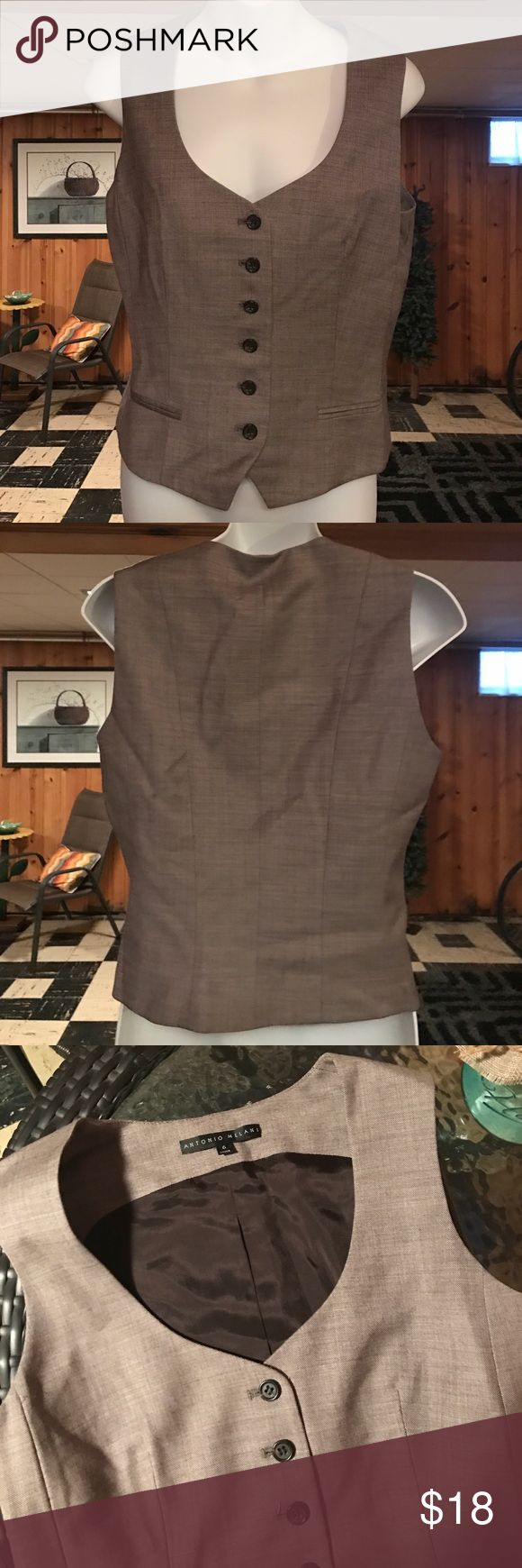 Like new Antonio Melani brown vest Like new Antonio Melani brown vest with 2 front pockets that are stitched closed ANTONIO MELANI Jackets & Coats Vests