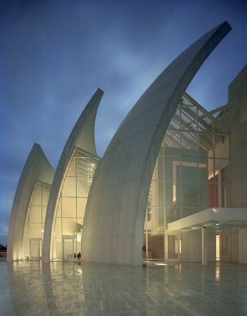 Jubilee Church  Tor Tre Teste. Archdiocese of Rome,  Rome, Italy.  1996 - 2003. Richard Meier, architect.