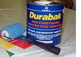 Durabak paint to waterproof teardrop trailer. 16 colors!