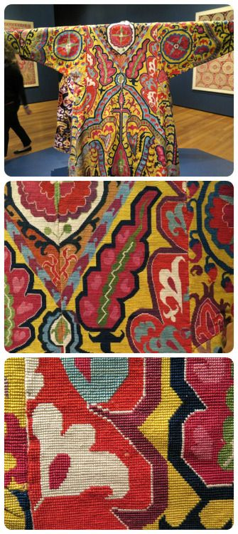 A 19th-century Uzbek silk embroidered surcoat once owned by Jeptha H. Wade II is one of the focal pieces in the inaugural exhibition of the Cleveland Museum of Art's North Wing textile gallery.