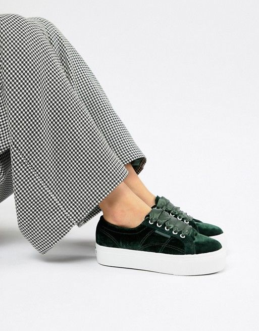 aeec4619681 Superga Platform Sneakers In Jade Velour in 2019