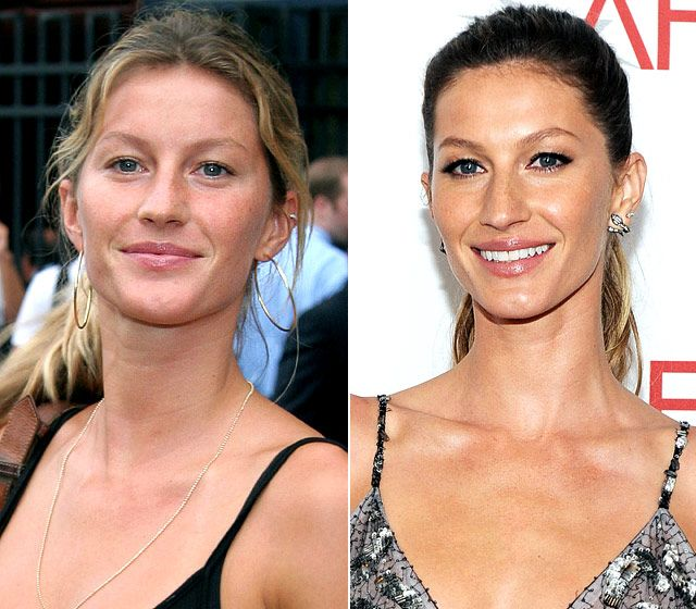 Gisele Bundchen  On left: attending the opening night gala for the U.S. Open Tennis and Education Foundation in New York City on Aug. 28, 2006  On right: posing at the 39th AFI Life Achievement Awards in Culver City, Calif. on June 9, 2011