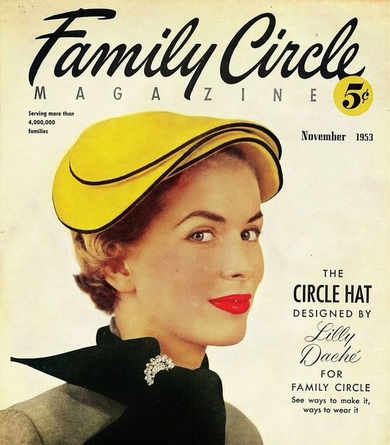 A Lilly Dache circle hat on the cover (fittingly :)) of Family Circle magazine, November 1953. #vintage #hats #1950s