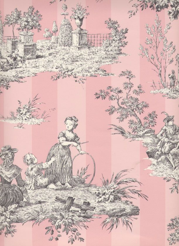 pink toile wallpaper and fabric is used in my pink bedroom in my cottage
