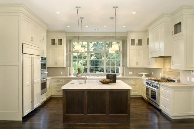 U shaped kitchen with island like the layout and huge for Different kitchen layout