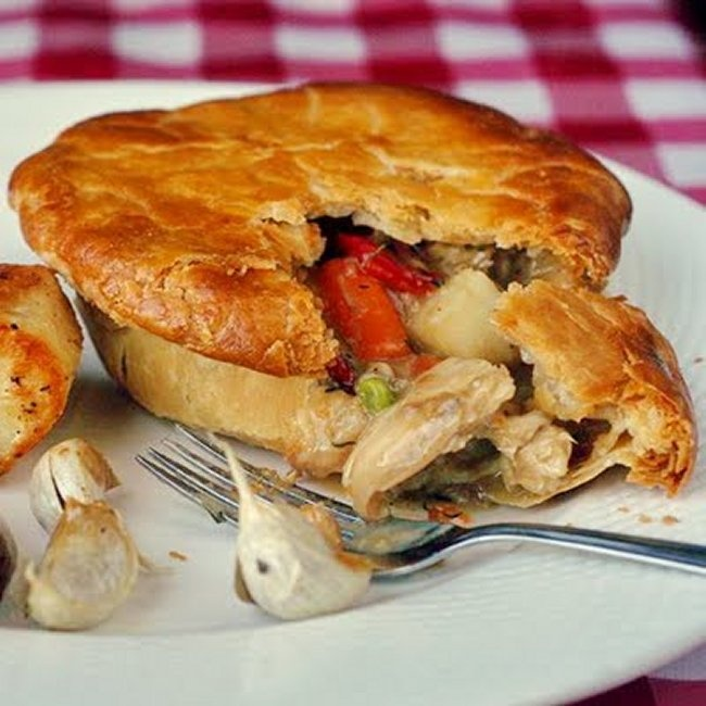 Shred some left over turkey for Turkey Pot Pie.  1) From: Newfoundland Rock Recipes (2) Webpage has Convenient Pin It Button