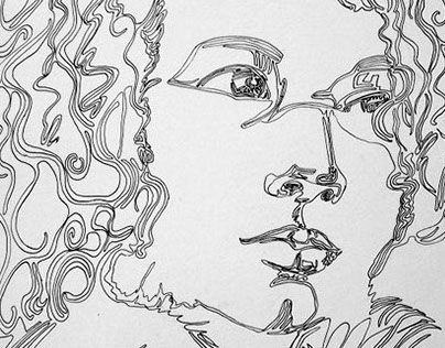 Drawings created just with a single line, by Athanasia Kekebanou