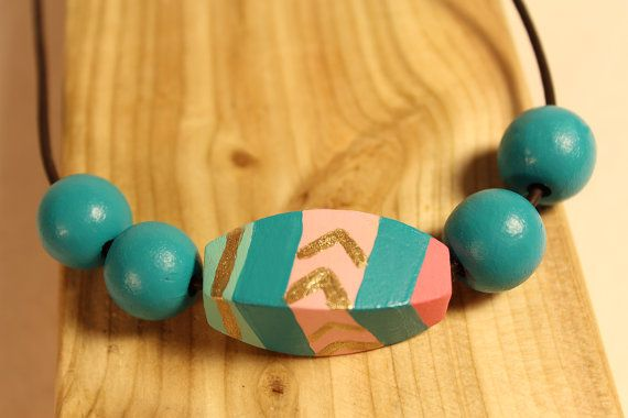 Painted wood bead necklace / Boho necklace / by LittleCountryLife