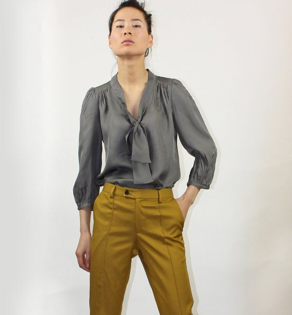 Solid grey silk blouse by EllaLai on Etsy, $84.00: 8900, Solid Grey, Chic Silk, Outfits Style Clothing, Style 22, Style Inspiration, Grey Silk, Etsy Clothing, Silk Blouses
