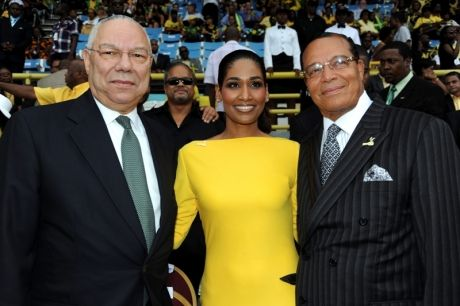 Culture Minister Lisa Hanna with former US Secretary of State, Colin Powell (left) and Louis Farrakhan, head of the Nation of Islam. Not very good company for Colin Powell to be keeping.