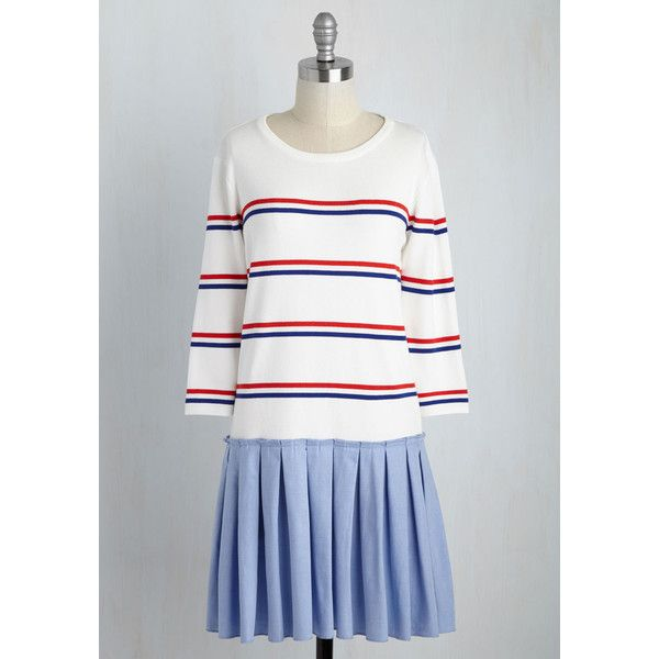 Nautical Short Length Long Sleeve Drop Waist (£30) ❤ liked on Polyvore featuring dresses, apparel, blue, fashion dress, white pleated dress, white long sleeve dress, drop-waist dresses, white dress and white 3/4 sleeve dress