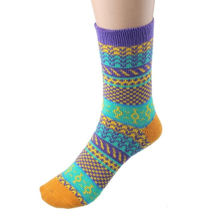 Cycling Socks Stripe Patter Multi-Color Warm Winter Yoga Socks Outdoor Sports Sock Mens Women Calcetines Ciclismo#20