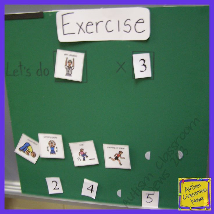 Visual board for movement choices. Autism Classroom News: 5 Ways to Integrate Physical Activity into an Autism Classroom