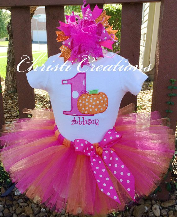 Baby Girl 1st Birthday Pumpkin Tutu Outfit - Perfect for a fall birthday celebration!  by ChristiCreations