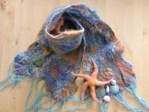Wet felted Summer scarf