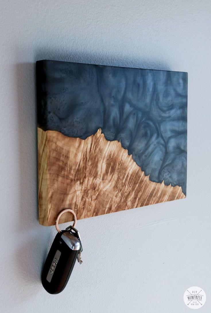 DIY Epoxy Resin And Wood Art Key Holder