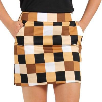 Loudmouth Golf Skort Checkmate, don't be fooled with its earthy-tones; done the right way, this can be just as eye catching as some of Loudmouth's wildest prints.   #Golf4Her #GolfClothes