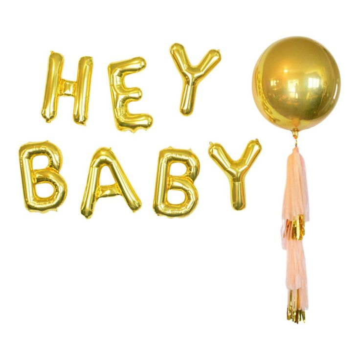 These gold foil 16 inch HEY BABY balloons balloons are the trendy modern baby shower decoration to have! Make a big statement on your wall or string them together to make a garland. A perfect celebrat