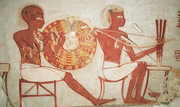 A craftsman specializing in the manufacture of jewelry, practice holes using a drill-head. The scene is part of the wall paintings of the tomb of the vizier Rekhmira, in Thebes, XV sec. B.C. about.