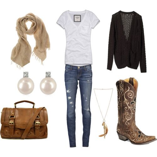 country girl outfits polyvore. I would probably pair Uggs or flats with this instead of cowgirl boots, but still cute.