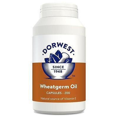 Dorwest Herbs Wheatgerm Oil 200 Capsules Vitamin E Dog Cat supplement