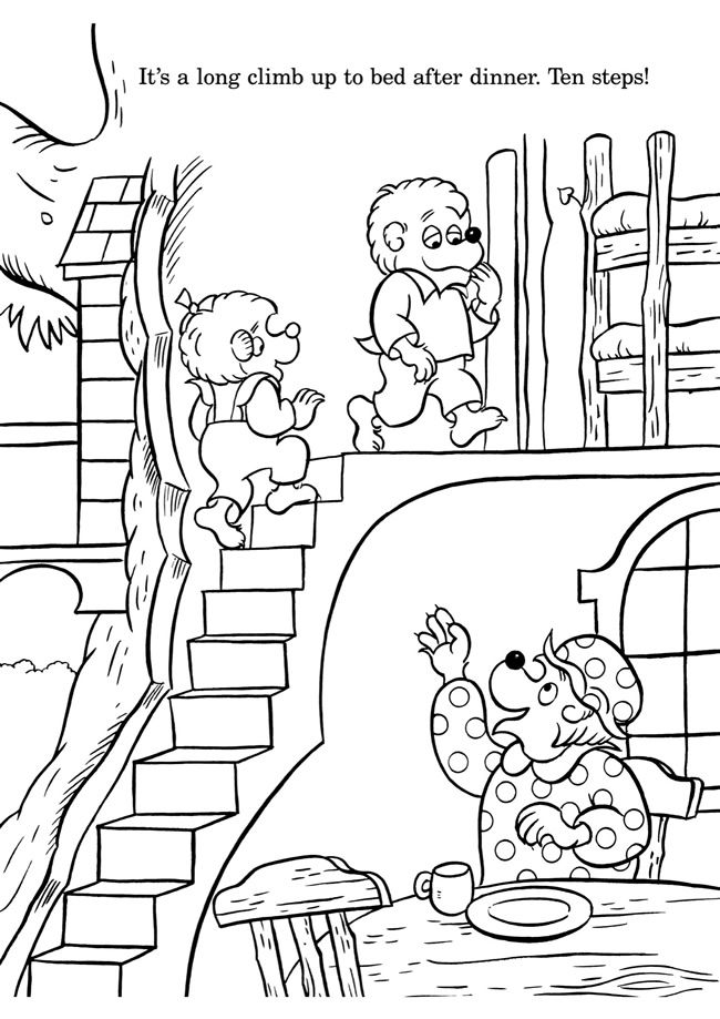 colouring in page sample from bearenstain bears colouring with numbers book via - Berenstain Bears Coloring Book