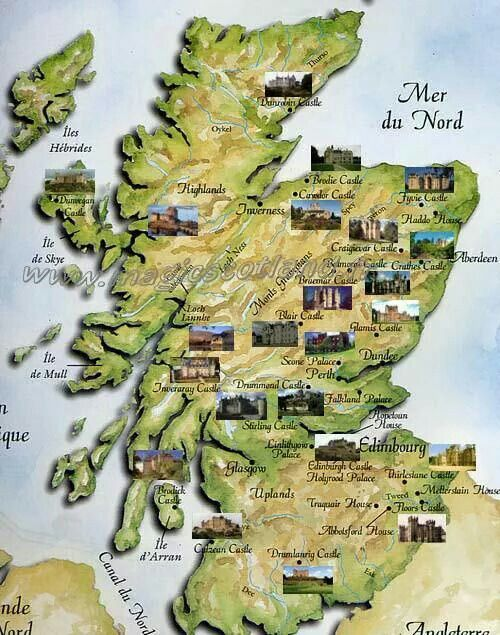 Map of the castles in Scotland