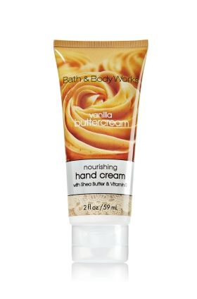 Vanilla Butter Cream Nourishing Hand Cream - Soap/Sanitizer - Bath & Body Works - want to smell, great reviews
