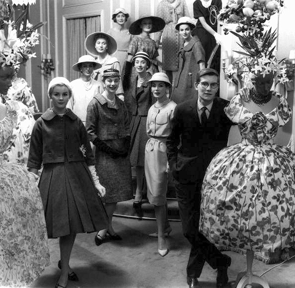 Yves Saint Laurent with a group of his models, 1958-59: Models, Yves Saint Laurent, Vintage Photos, Fashion History, Style, Vintage Fashion, Christian Dior, Fashion Showca, Ysl