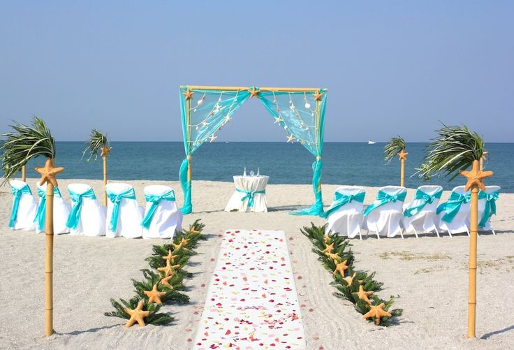 6 Sea Stars Aqua beach wedding on Siesta beach florida