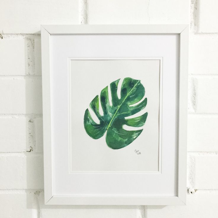 Green Palm leaf original art painting. One of a kind. Painted in waterpaper on 300gsm using quality watercolors. A4. $49. Ideal gift, beach, tropical, home decor.