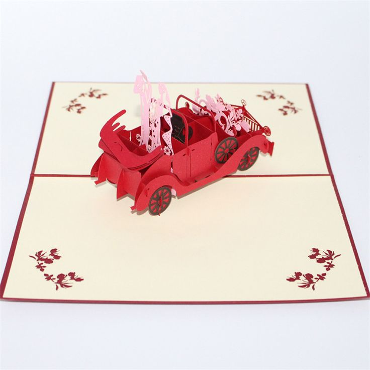 2017 New 3D Romantic Red Vintage Car Pop Up Paper Handmade Greeting Card Wedding Invitation Marriage Souvenir Postcard Wish Card