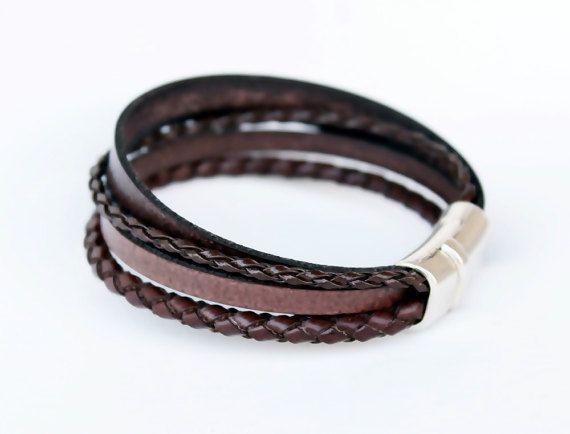 Armband voor mannen van Vegan, multi strand, zilver magnetische Clasp, mannen armband, sieraden voor mannen, Faux leder armband, cadeau voor hem,