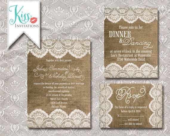 printable wedding invitation burlap and lace wedding invitations rustic lace wedding invitations ideas 570x456