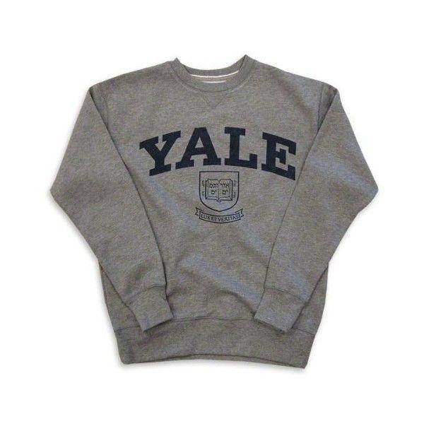 Yale Bulldogs Slate '47 Brand Vintage College Crewneck Sweatshirt ($60) ❤ liked on Polyvore featuring tops, hoodies, sweatshirts, sweaters, shirts, vintage shirts, vintage sweatshirt, sweatshirt hoodies, crew neck shirt and vintage crewneck sweatshirt