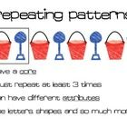 Math posters for your patterning unit.  Includes posters for repeating patterns, increasing (growing patterns), core, attributes and pattern core. ...