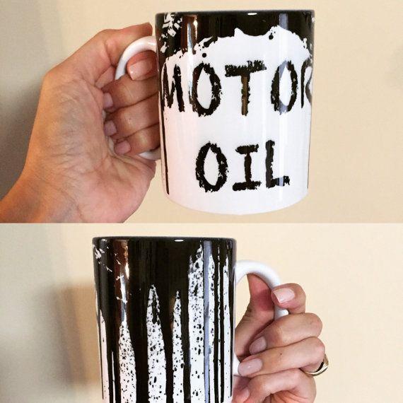 Custom Mug - Motor Oil - Sublimated Mug  Motor Oil Mug for your favorite mechanic or serious black coffee drinker. 11 oz. Sublimation Mug Made