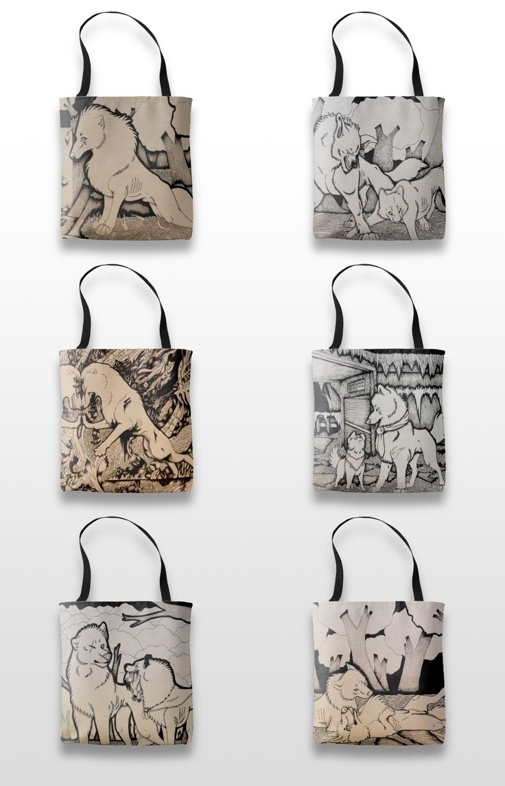 Black and white illustrated wolf tote bags